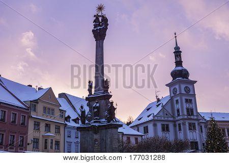 Plague column and city hall in Loket. Loket Bohemia Czech Republic.