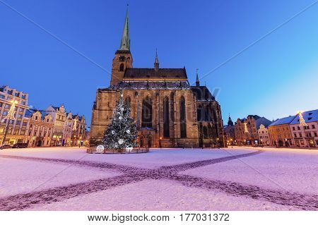 St. Bartholomew Cathedral in Pilsen. Pilsen Bohemia Czech Republic.