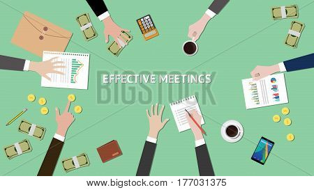 effective meetings illustration with paperworks, money and folder document on top of table vector