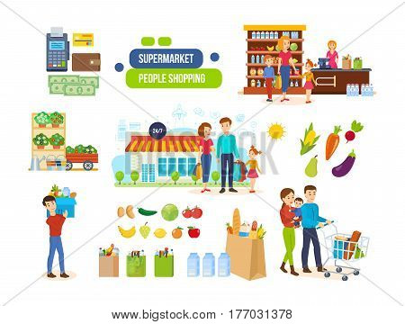 People shopping in a supermarket concept. Couples in supermarkets and shopping malls, buying organic natural foods, fruits, delivery of products. Vector illustration isolated on white background.