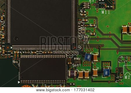 Electronic circuit board from a modern device close up.