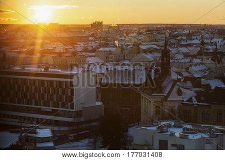 Pilsen panorama at sunset. Pilsen Bohemia Czech Republic.