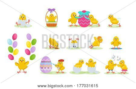 Happy easter greeting card. Lovely chickens have fun, celebrate, indulge, in Easter, run, fly, paint eggs, sing. Vector illustration. Can be used in banners, brochures postcards congratulations