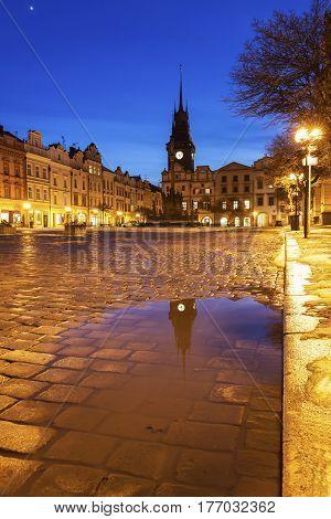 Pernstynske Square and Green Tower in Pardubice. Pardubice Bohemia Czech Republic.