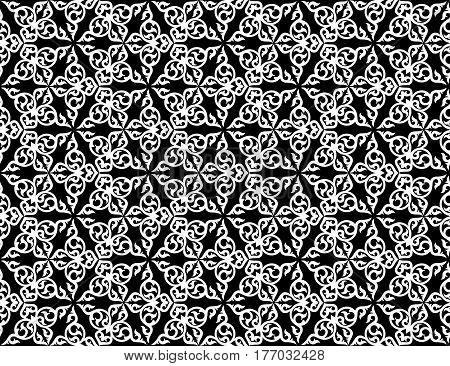 Seamless kaleidoscopic pattern with folk ornament. Vector illustration