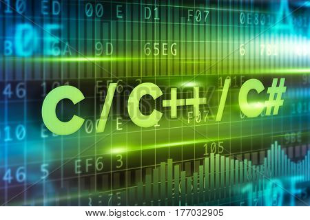 C plus plus abstract concept blue text on blue background