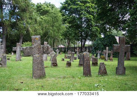 Graves at old cemetery of St. Brigitta convent in Pirita region Tallinn Estonia.