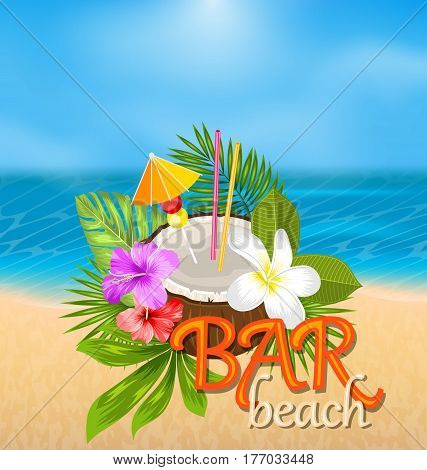 Illustration Coconut Cocktail in Summer With Garnish and Straw, Beach Bar Poster with Exotic Flowers and Leaves - Vector