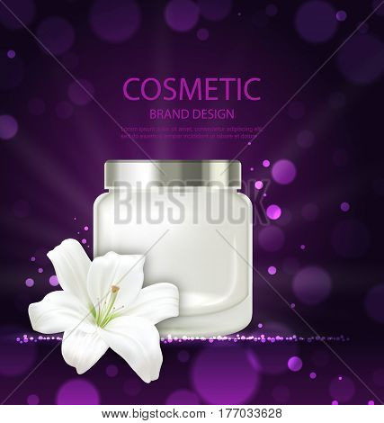 Illustration Poster of Refreshing Cosmetic Product with Flower Lily, Blank Bottle Package with Cream. Template of Design Leaflet, Flyer, Card - Vector