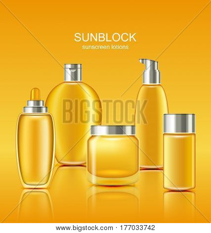 Illustration Set Sunscreen Protection Cosmetics. Sun Care Containers, Orange Collection Sunblock Lotions - Vector
