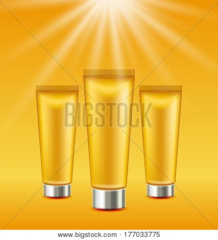 Illustration Set Sunscreen Bottles and Tubes of Lotions. Sun Protection Package with Spray Pump, Collection Sunblock - Vector
