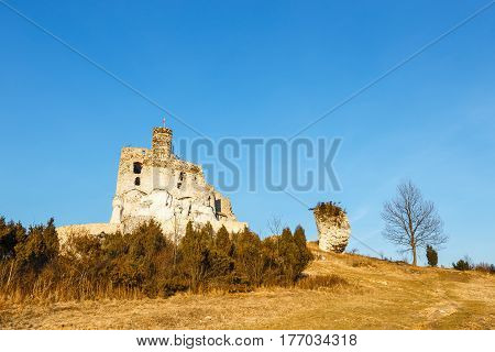 Ruins Of Medieval Castle Mirow In Poland At Sunset