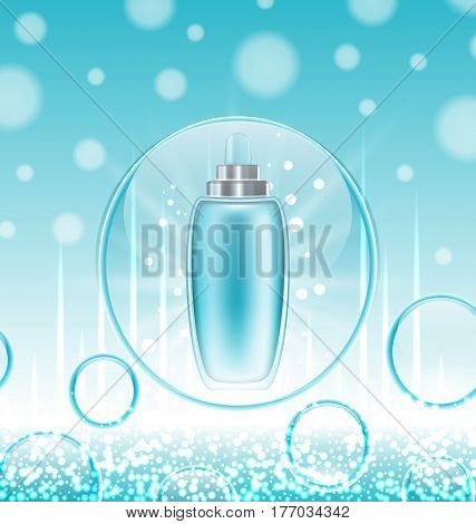Illustration Cream Moisturizing Cosmetic, Template for Ads. Hydrating Facial Lotion. Blue Water Background with Bubbles - Vector