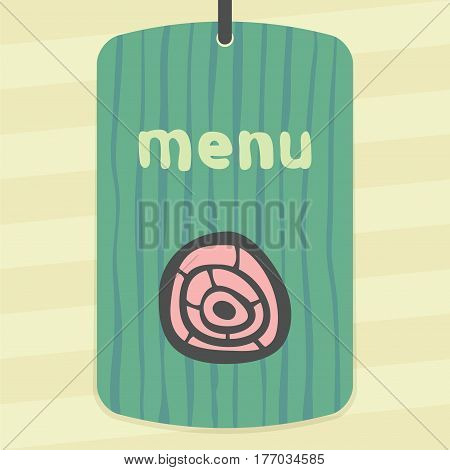 Vector outline pork, beef, mutton meat cutting food icon on label with hand drawn striped background. Elements for mobile concepts and web apps. Modern infographic logo and pictogram.