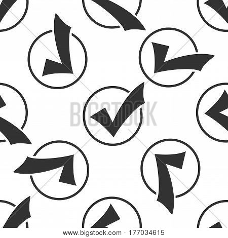 Check list button icon. Check mark in round sign icon seamless pattern on white background. Vector Illustration