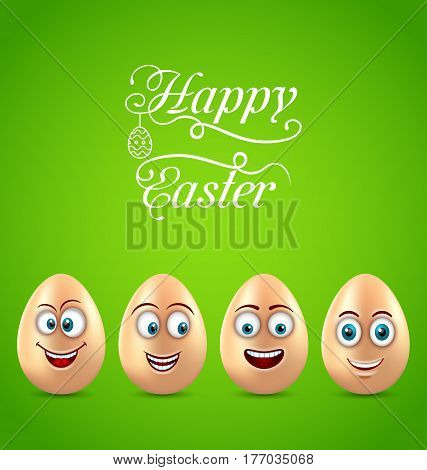 Illustration Humor Easter Card with Funny Eggs - Vector