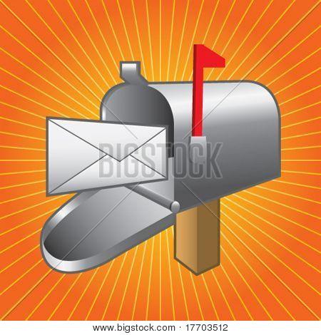 mailbox on orange starburst