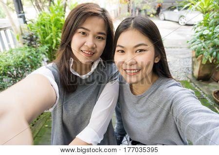 Self Portrait Of Friendship Women In The Park