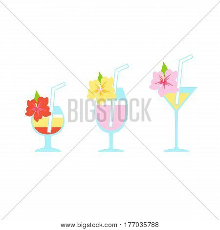 Vector set of flat illustrations of tropical cocktails. Various alcoholic drinks in glasses decorated with exotic flowers