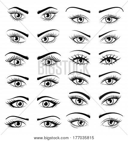 Illustration Set Open Beautiful Female Eyes Isolated on White Background, Outline, Hand Drawing Style - Vector