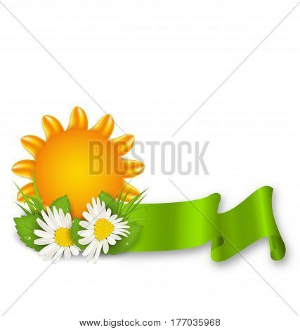 Illustration Happy Summer Background with Chamomiles Flowers and Ribbon - Vector