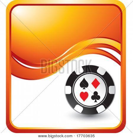 casino chip on modern wave background