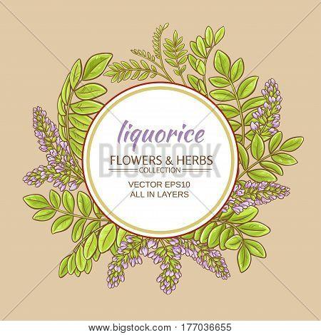 liquorise plant vector frame on color background