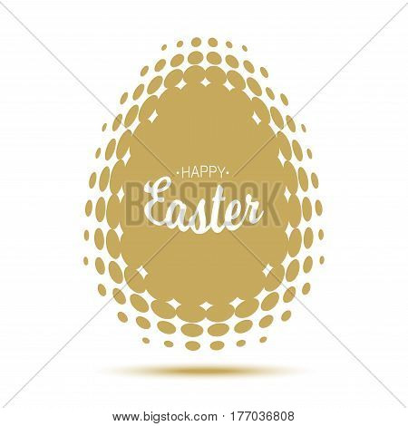 Vector Happy Easter typographic calligraphic lettering with gold halftone egg frame  isolated on white background. Retro holiday easter badge. Religious holiday sign.