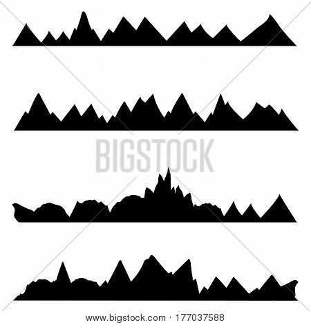 Vector Set Of Silhouettes. Chains Of Mountains