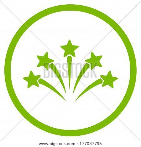Fireworks Burst rounded icon. Vector illustration style is flat iconic symbol inside circle, eco green color, white background.