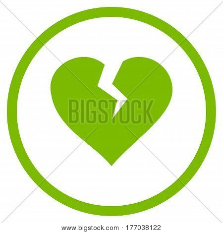 Heart Break rounded icon. Vector illustration style is flat iconic symbol inside circle, eco green color, white background.