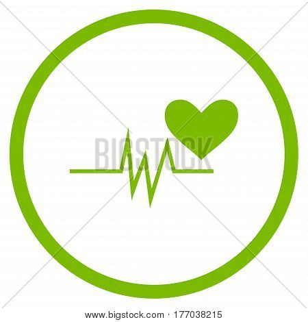 Heart Pulse Signal rounded icon. Vector illustration style is flat iconic symbol inside circle, eco green color, white background.