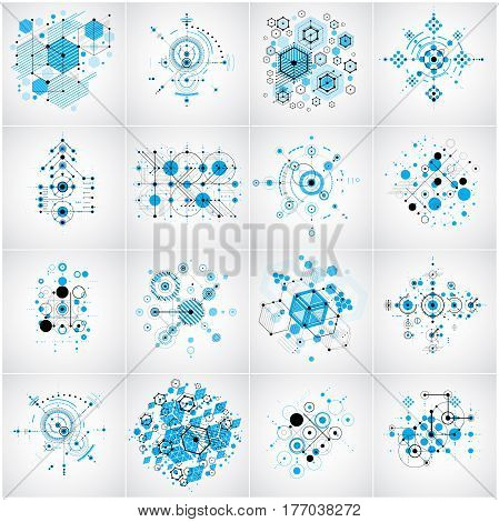 Bauhaus art composition. Set of blue modular vector backdrops with circles and hexagons. Retro style patterns collection graphic backdrops for use as booklet cover templates.