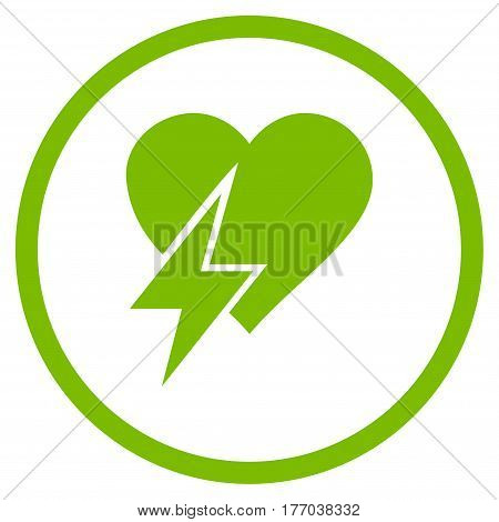 Heart Shock rounded icon. Vector illustration style is flat iconic symbol inside circle, eco green color, white background.