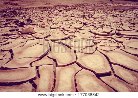 Cracked Ground In Valle De La Muerte Desert, San Pedro De Atacama, Chile
