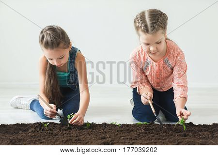 Earth day symbol is seedlings with children.