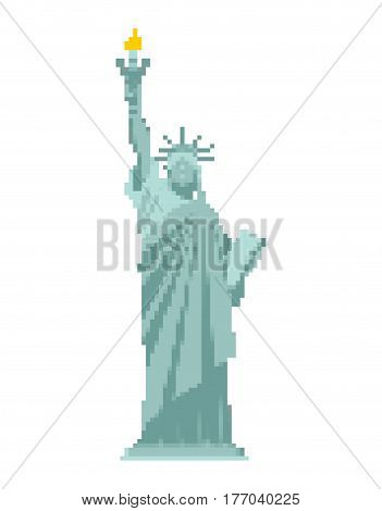 Statue Of Liberty Pixel Art. 8 Bit Landmark  America. Pixelated Sculpture Architecture Usa
