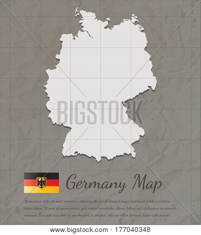 Vintage Germany map. Paper card map silhouette. Vector illustration