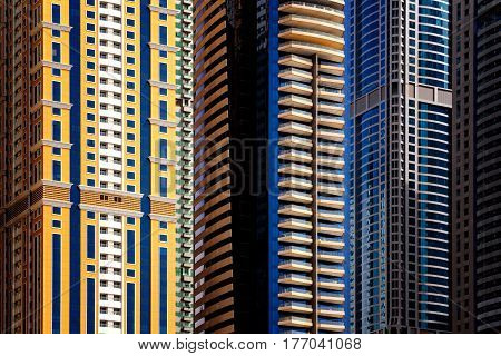 Detail Of World Tallest Residential Buildings. Dubai Marina, United Arab Emirates.