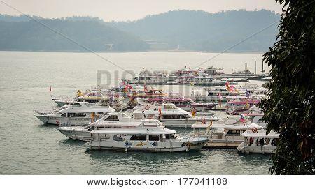 Tourist Boats On The Sun Moon Lake In Taiwan