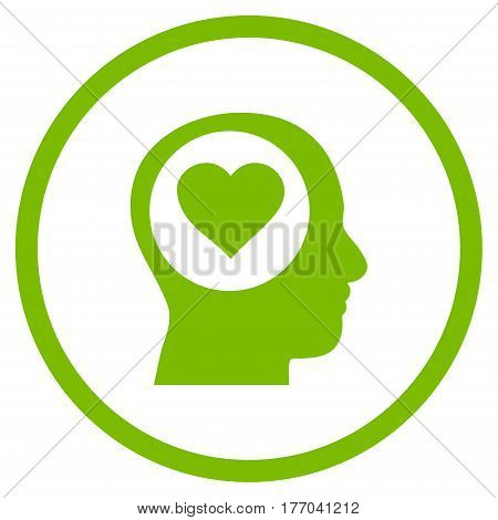 Love Thinking Head rounded icon. Vector illustration style is flat iconic symbol inside circle, eco green color, white background.