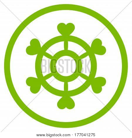 Lovely Boat Steering Wheel rounded icon. Vector illustration style is flat iconic symbol inside circle, eco green color, white background.