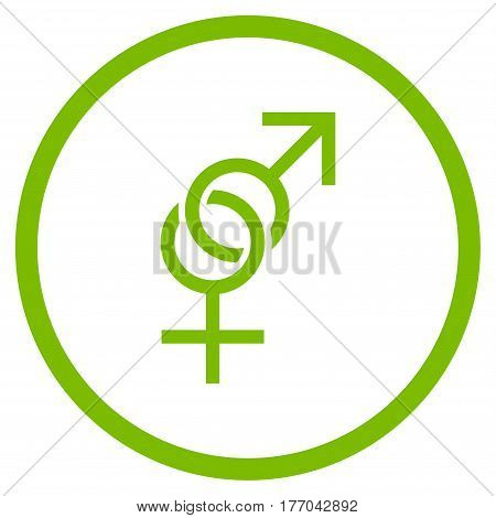Sex Symbol rounded icon. Vector illustration style is flat iconic symbol inside circle, eco green color, white background.