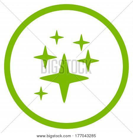 Sparkle Stars rounded icon. Vector illustration style is flat iconic symbol inside circle, eco green color, white background.