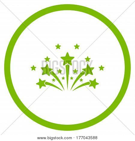 Star Fireworks rounded icon. Vector illustration style is flat iconic symbol inside circle, eco green color, white background.