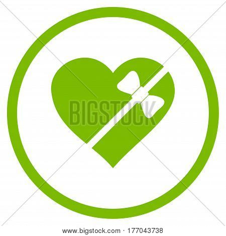 Tied Love Heart rounded icon. Vector illustration style is flat iconic symbol inside circle, eco green color, white background.