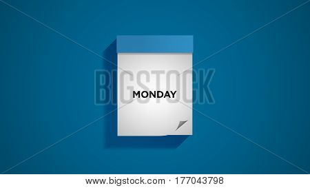 Blue weekly calendar on a blue wall, showing Monday. Digital illustration.