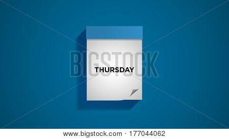 Blue weekly calendar on a blue wall, showing Thursday. Digital illustration.