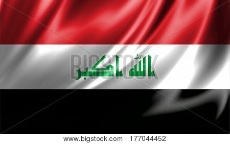 Grunge colorful background flag of Iraq. Close-up fluttering downwind. 3D