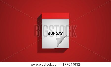 Red weekly calendar on a red wall, showing Sunday. Digital illustration.